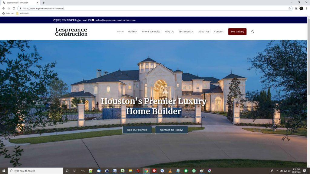 New Homes Construction Website Development Houston TX